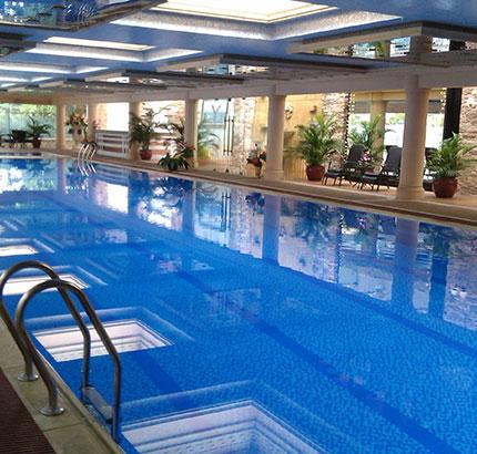 游泳池新水放入时的水处理流程